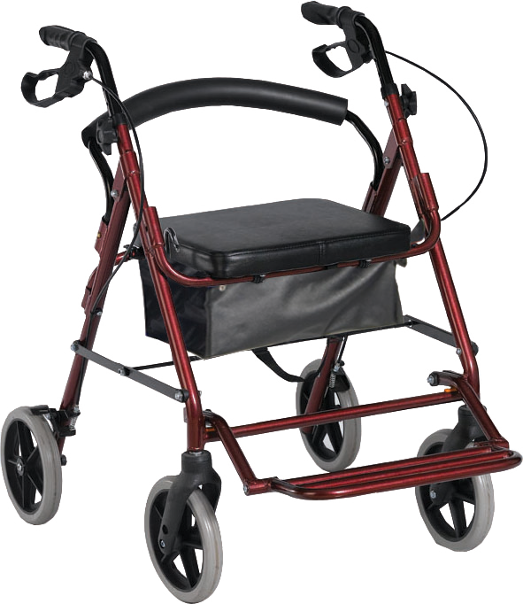 תמונה של רולטור 4 גלגלים עם רגלית