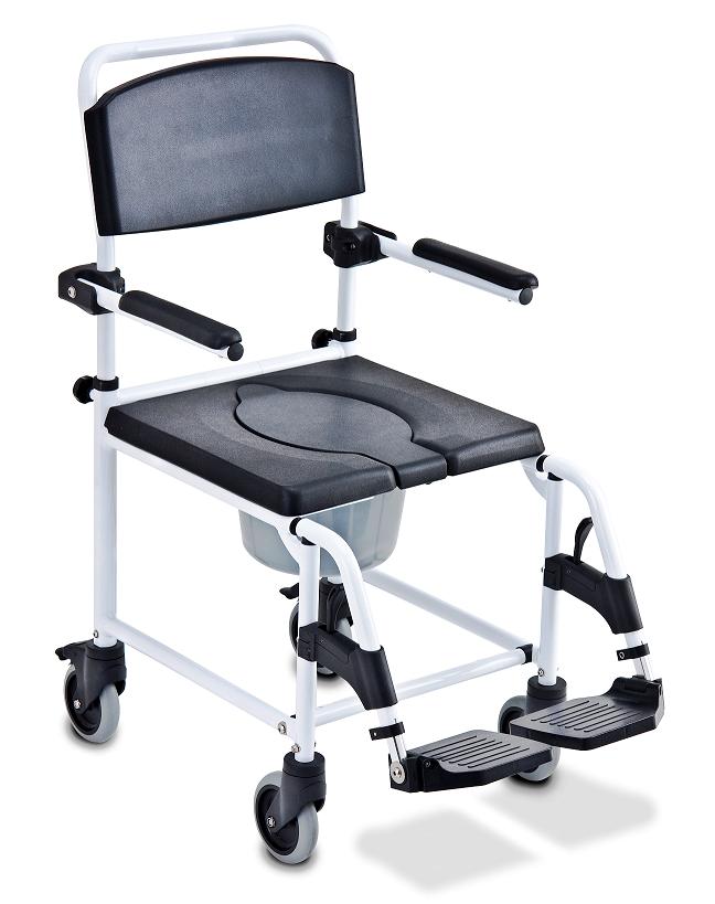 תמונה של כסא רחצה ושירותים עם גלגלים מאלומיניום